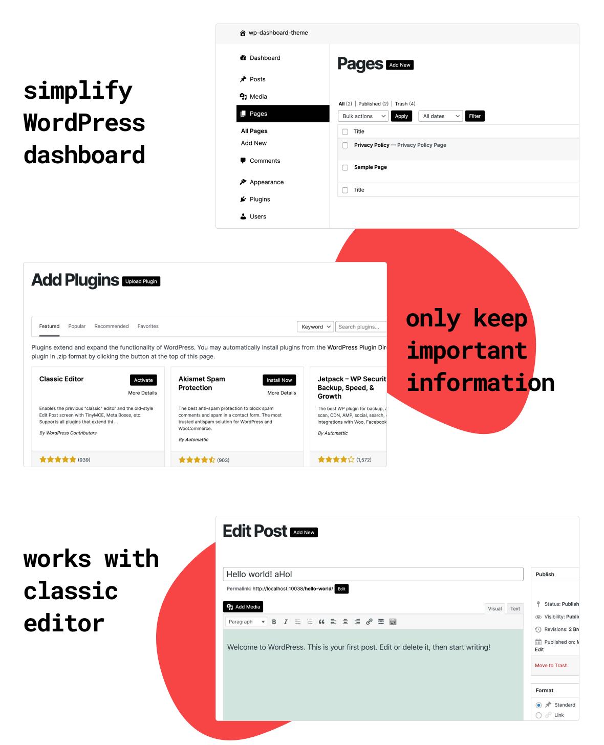 Simple Dashboard Theme WordPress